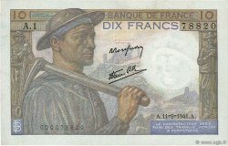 10 Francs MINEUR FRANCE  1941 F.08.01 TTB à SUP