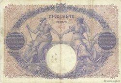 50 Francs BLEU ET ROSE FRANCE  1908 F.14.21 TB+