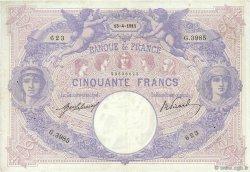 50 Francs BLEU ET ROSE FRANCE  1911 F.14.24 TTB