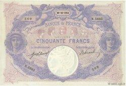 50 Francs BLEU ET ROSE FRANCE  1914 F.14.27 SUP+