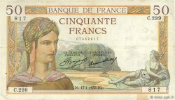50 Francs CÉRÈS FRANCE  1935 F.17.03 pr.TTB
