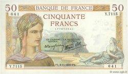 50 Francs CÉRÉS modifié FRANCE  1937 F.18.04 SUP