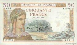 50 Francs CÉRÈS modifié FRANCE  1938 F.18.08 TTB+
