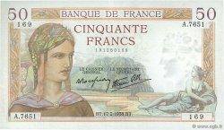 50 Francs CÉRÈS modifié FRANCE  1938 F.18.09 SUP