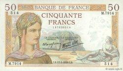 50 Francs CÉRÈS modifié FRANCE  1938 F.18.10 pr.SUP