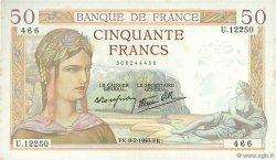 50 Francs CÉRÈS modifié FRANCE  1940 F.18.38 SUP