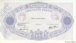 500 Francs BLEU ET ROSE modifié FRANCE  1938 F.31.17 SUP