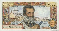 5000 Francs HENRI IV FRANCE  1958 F.49.06 TTB à SUP