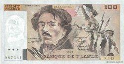 100 Francs DELACROIX imprimé en continu FRANCE  1990 F.69bis.01b7 TTB