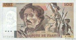 100 Francs DELACROIX imprimé en continu FRANCE  1990 F.69bis.02e1 TTB
