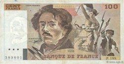 100 Francs DELACROIX imprimé en continu FRANCE  1990 F.69bis.02e1 TB