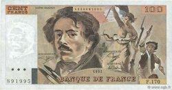 100 Francs DELACROIX imprimé en continu FRANCE  1991 F.69bis.03a1 TTB+