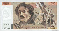 100 Francs DELACROIX imprimé en continu FRANCE  1991 F.69bis.03b2 pr.SUP