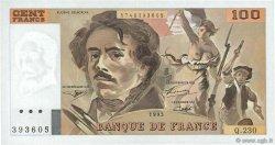 100 Francs DELACROIX imprimé en continu FRANCE  1993 F.69bis.08c SPL+