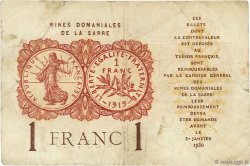 1 Franc MINES DOMANIALES DE LA SARRE FRANCE  1919 VF.51.01 TB+