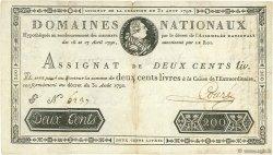 200 Livres FRANCE  1792 Ass.33a pr.TB
