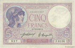 5 Francs VIOLET FRANCE  1921 F.03.05 pr.SUP