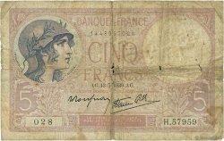 5 Francs VIOLET modifié FRANCE  1939 F.04.01 B