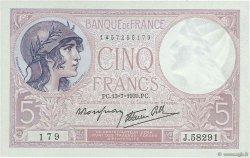 5 Francs VIOLET modifié FRANCE  1939 F.04.01 SPL+