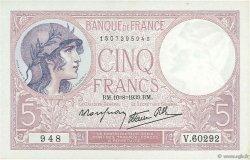 5 Francs VIOLET modifié FRANCE  1939 F.04.05 NEUF