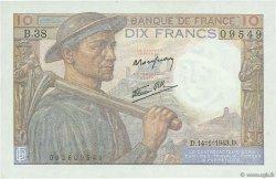 10 Francs MINEUR FRANCE  1943 F.08.07 UNC