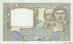 20 Francs SCIENCE ET TRAVAIL FRANCE  1940 F.12.10 SUP