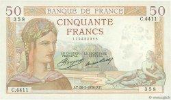 50 Francs CÉRÈS FRANCE  1936 F.17.26 TTB