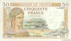 50 Francs CÉRÈS modifié FRANCE  1940 F.18.38 TTB à SUP
