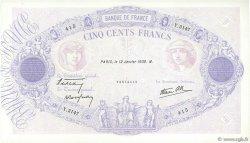 500 Francs BLEU ET ROSE modifié FRANCE  1939 F.31.22 TTB+