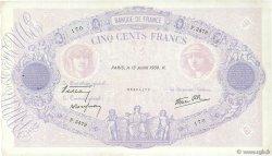 500 Francs BLEU ET ROSE modifié FRANCE  1939 F.31.36 TTB