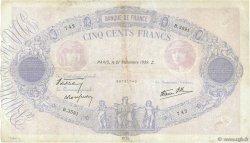 500 Francs BLEU ET ROSE modifié FRANCE  1939 F.31.40 TB+