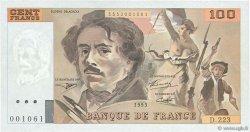 100 Francs DELACROIX  UNIFACE FRANCE  1995 F.69u.07 SUP