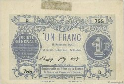 1 Franc FRANCE régionalisme et divers  1871 BPM.012a SUP