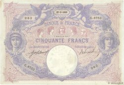 50 Francs BLEU ET ROSE FRANCE  1916 F.14.29 TTB