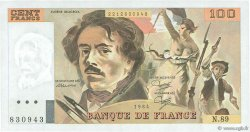 100 Francs DELACROIX modifié FRANCE  1984 F.69.08b SPL+