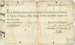 100 Livres Tournois FRANCE  1720 Laf.090 B+