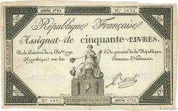 50 Livres FRANCE  1792 Ass.39a TTB