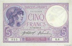 5 Francs VIOLET FRANCE  1917 F.03.01 pr.SPL