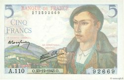 5 Francs BERGER FRANCE  1943 F.05.05 NEUF