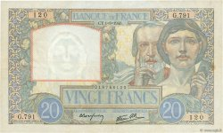 20 Francs SCIENCE ET TRAVAIL FRANCE  1940 F.12.05 TTB+