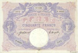 50 Francs BLEU ET ROSE FRANCE  1921 F.14.34 TTB