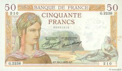 50 Francs CÉRÈS FRANCE  1935 F.17.13 pr.SUP