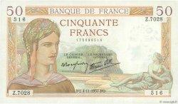 50 Francs CÉRÈS modifié FRANCE  1937 F.18.04 TTB+