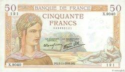 50 Francs CÉRÈS modifié FRANCE  1938 F.18.18 SUP