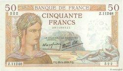 50 Francs CÉRÈS modifié FRANCE  1939 F.18.32 SUP