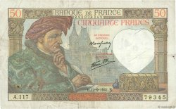 50 Francs JACQUES CŒUR FRANCE  1941 F.19.14 TB+