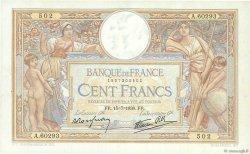 100 Francs LUC OLIVIER MERSON type modifié FRANCE  1938 F.25.26 SUP à SPL