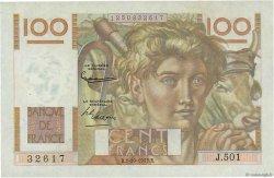 100 Francs JEUNE PAYSAN filigrane inversé FRANCE  1952 F.28bis.01 SUP à SPL