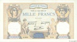 1000 Francs CÉRÈS ET MERCURE type modifié FRANCE  1938 F.38.26 TTB+
