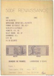 500 Francs RENAISSANCE FRANCE  1986 F.(71) SUP